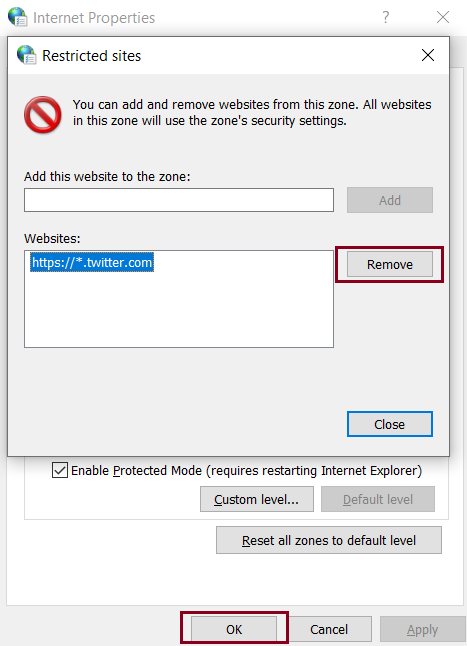 Unblock the site from the restricted sites list